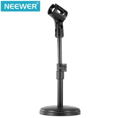 8@/20cm Black Iron Base Desk Microphone Stand with Microphone Clip