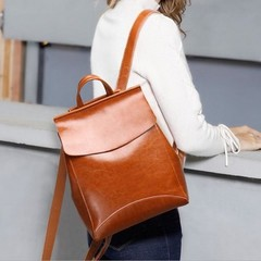 Fashion Women Lady High Quality Leather Backpack Girls Outdoor Travel Joker Handbag Pure Color Si