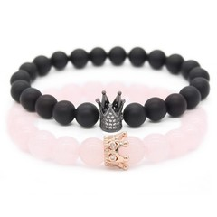 2pc/set Couple Bracelets &amp Bangles 8mm Natural Stone Beaded Bracelet for Lovers Handmade Jewel
