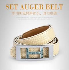 Leather Belt for Women Designer Waist Belt with Golden Buckle