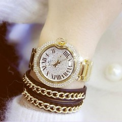 Round Dial Quartz Movement Watch With Rhinestone Casual Dress Womens Watch Fashion Jewelry Trendc