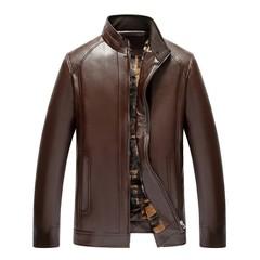 men Fashion Pure Color Stand Collar Zipper Imitation Leather Business Coat parka winter jacket me Brown L