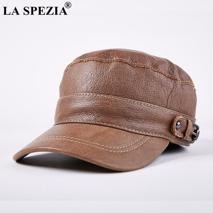 f2e1b266200 SPEZIA Brown Hat military Style Men Genuine Leather Casual Army Hat Male  Winter Adjustable Duckbi
