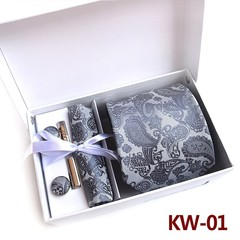 Quality Jacquard Woven Gift Box Set  Tie  Handkerchief Cufflinks  Tie Clip  Holiday Graduation Gi