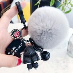 Keychain Rabbit Pom Pom Keychain Car Couple Key Ring Bag Purse Charms Gifts for Women Key Chains