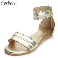 Silver Ankle Strap Flat Sandals For Women Famous Brand Shoes Size 7 Ladies Shoes Custom Colors Su