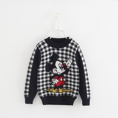 quality new autumn and winter childrens cotton cover thickened cartoon navy white plaid sweater b