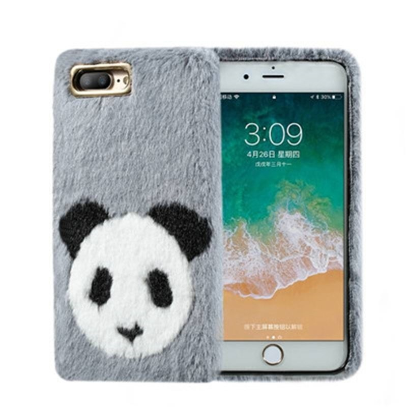 for iPhone X S R MAX 8 7 Plus 6 6S 6 Plus Cute Panda Lovely Fluffy Rabbit  Fur Soft Silicon Phone