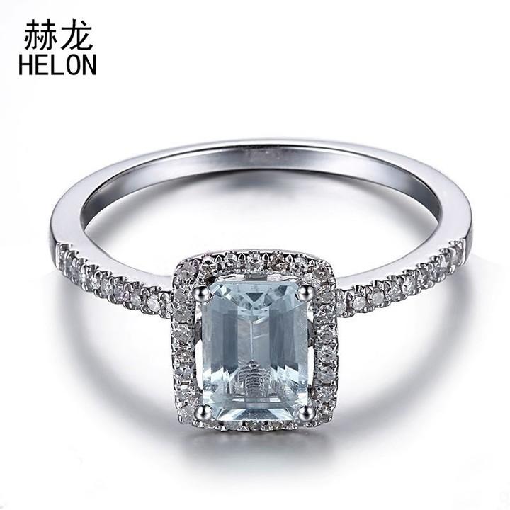 Sterling Silver 100% Genuine Aquamarine Gemstone Ring Engagement Diamonds Rings For Women Wedding