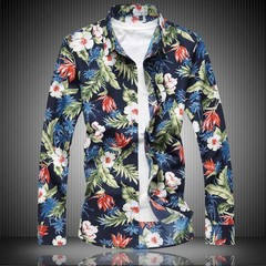 Size 5XL 6XL 7XL Men Shirt Autumn New Long Sleeve Button Down Flower Print Mens  Shirts Casual Fl