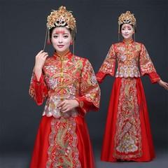 Female Qipao Exquisite Embroidery Satin Cheongsam Phoenix Stage Show Clothing Bride Wedding Dress
