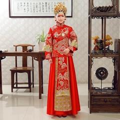 Ancient Qipao Phoenix Asian Bride Wedding Dress Gown Female SuZhou Embroidery Cheongsam Red Toast