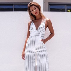 Women V Neck Party Club Striped Backless Jumpsuit Long Trousers white L