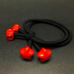 Simple Cartoon   Red beads  Cute Hair rope Korean version  Hair ring  tie Lovely GIRLS Two in one