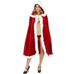 Women Christmas Clothing Adult Long Christmas Costume Santa Claus Hooded Cloak Costume Cape 100cm