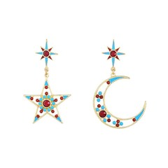 Trendy Red Blue Beads Star Moon Earrings For Women Hollow Statement Earrings Jewelry Accessories as picture361180