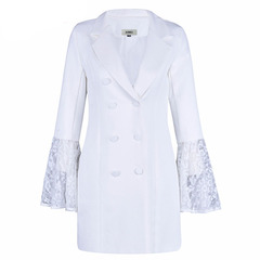 Coat For Women Hollow Out Flare Sleeve V Neck Double Breadsted Tunic Plus Size Blazer 2019 Spring white s
