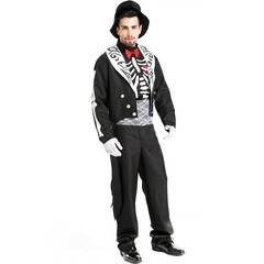 Deluxe Mens Day of The Dead Costume Suit Skeleton Halloween Drama Carnival Cosplay Costume Clothi