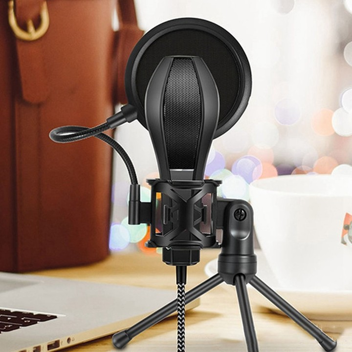 Adjustable Studio Condenser Microphone Stand Desktop Tripod With Microphone Pop Filter Windscreen