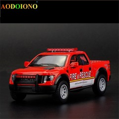 Ford F150 Raptor Police Fire Style Rescue Car 1:46 Metal Alloy Car Model Toy for Boy Kids Childre