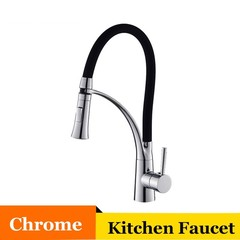 Kitchen Faucet Single Handle Single Hole Vessel Sink Cold and Hot Water Mixer Tap 360 Swivel Rubb