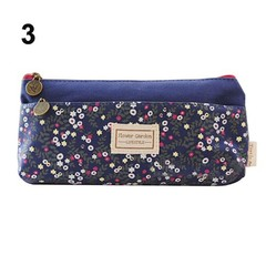 Canvas Floral Pencil Cases Double Zipper Pencil Bag Students Organizer Stationery Office Supplies
