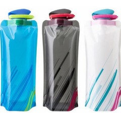Capacity Fashion Portable Foldable Plastic Water Bottle Bag for Hiking Climbing 4pcs set