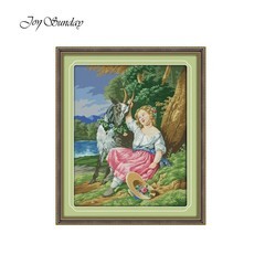 Counted Chinese Cross Stitch Kit for Embroidery Kits Portrait Painting Shepherd Girl 11CT 14CT DI
