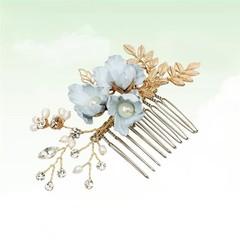 Bride Hair Combs Blue Flower Exquisite Crystal Hairpin Hair Accessories Headdress to Wedding Banq