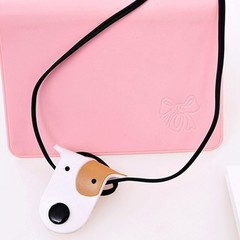 Cute Dog Button Earphone Line Cable Cord Organizer Desk Set Wrap Winder Holder Stationary Papeler