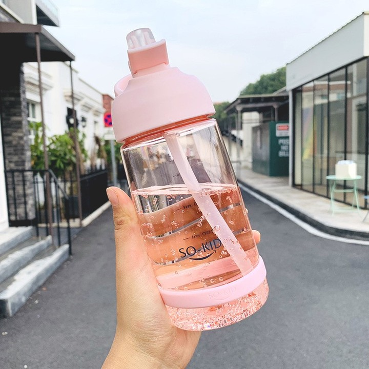 550ML 850ML 1000ML Sports Bottles Eco-friendly with Lid Hiking Camping Plastic Straw Drink Water