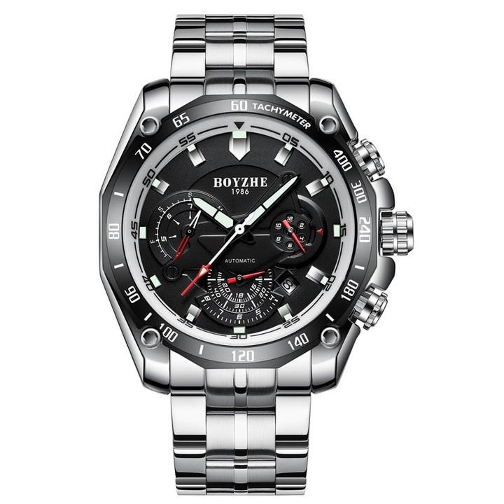 BOYZHE brand mens wristwatches Automatic mechanical stainless steel man watches waterproof lumino