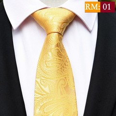 Design Stripes Gold Neck Ties 100% Silk Classic Men Tie 8cm Paisley Ties for Men Necktie Business
