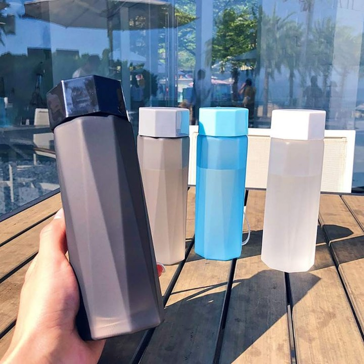 Portable Plastic Water Bottles Frosted Space Bottle for Water Polygon Outdoor Sports Travel Campi