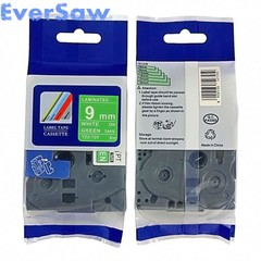 Brother P touch 9mm label tape tze725 tze-725 tz725 tz-725 tz725 White on Green for brother label