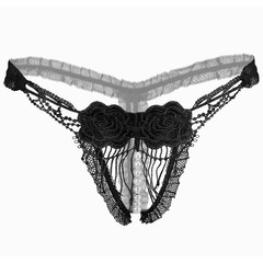 Lingerie Women Underwear Embroidery Lace Push G-string Underpants T-back Transparent Briefs Panti