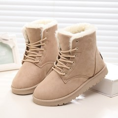 Classic Women Snow Boots Faux Suede Solid Platform Ankle Boots Female Winter Keep Warm Fur Insole