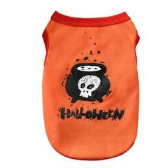 Print Vest Comfortable Festival Gift Halloween Dog Print Vest Orange Black  Fashion Halloween Ves