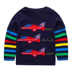 fashion new warm Children Boys girls Round Neck Cute plane Pattern color striped Long-sleeved Swe