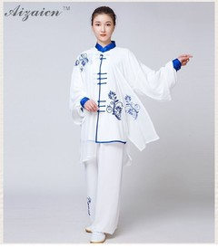 Sleeve Traditional Rayon Material Suit Chinese Kung Fu Clothing Tai Chi Uniform Spring Autumn Shi