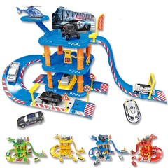engineering track parking lot model track puzzle large parking lot toy police engineering fire tr