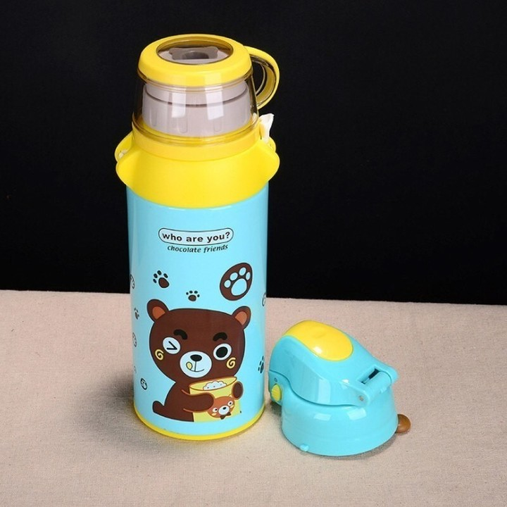Cartoon Bear Child Vacuum Flask With Straw Cartoon Bouncing Cup Outdoor Travel Bottle 600 Ml