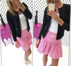 Women Plaid Blazers  Jackets Suits Ladies Long Sleeve Work Wear Blazer Plus Size Casual Female  Coat Black S