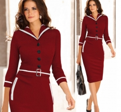 Pencil Dress Long Sleeve Office Ladies Bodycon Dresses Women Midi Turn Off Collor Work Dress red wine m