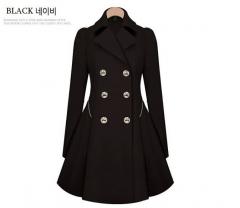 New Fashion Winter Coat  Women OL Slim  Ruffles  Double Breasted Long Jacket For Female Girls black m