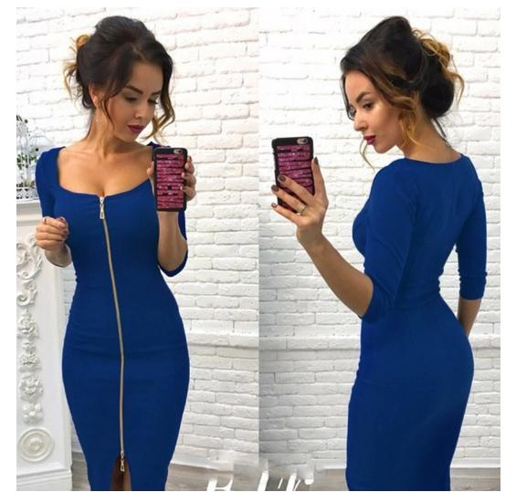 MIddle Sleeved  Fashion Women Dresses Zipper Up  Sexy Slash Neck Party Dresses Laidies Slim Dresses s jewelry blue