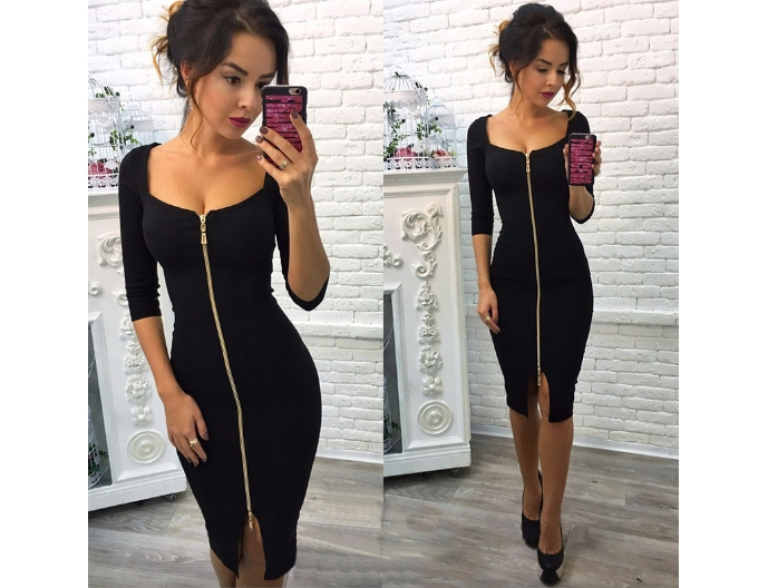MIddle Sleeved  Fashion Women Dresses Zipper Up  Sexy Slash Neck Party Dresses Laidies Slim Dresses l black