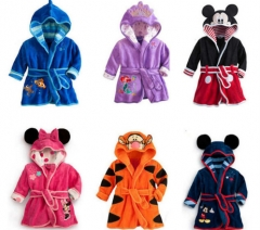 Baby Boys Robe For Girls 2018 Children's bathrobe Minnie Mickey Soft  Coral Baby Kids Warm Clothes black 1