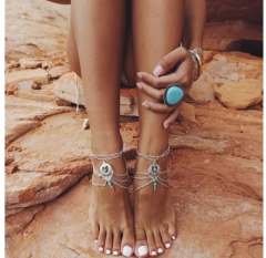 Vintage Silver Color Ankle Br Jewelry Barefoot Sandals Anklet For Women Tornozeleira Chaine Cheville as picture one size