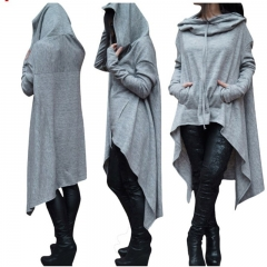 New  Long Sleeve Jacket Winter For Women With Hat Plus Size Loose Long Hoddies Coats Ladies  Girls Light gray 4XL